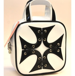 Iron Cross Patched White Satchel Purse Punk Gothic Rockabilly