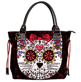 Sugar Skull Kitty Cat Candy Handbag School Shoulder Bag Gothic Rockabilly