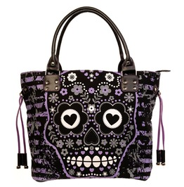 Sugar Skull Candy Shoulder Handbag School Gothic Rockabilly Black Purple