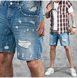 Distressed Blue Denim Shorts 48