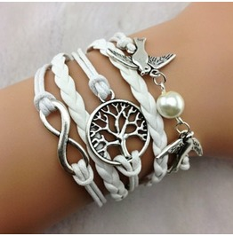 Fashion Handmade Jewelry Hand Woven Bird Tree Infinity Bracelet