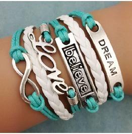 Fashion Handmade Jewelry Woven Blue Dream Believe Love Infinity Bracelet
