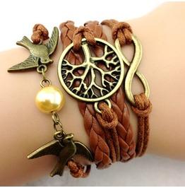Fashion Handmade Jewelry Woven Brown Infinity Tree Bird Bracelet