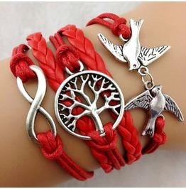 Fashion Handmade Jewelry Woven Red Bird Tree Infinity Bracelet