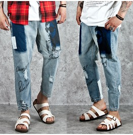 Patchwork Accent Distressed Denim Baggy Ankle Jeans 213
