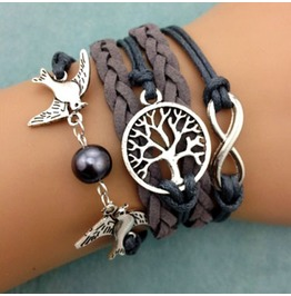 Fashion Handmade Jewelry Woven Gray Bird Tree Pearl Infinity Bracelet