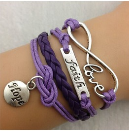 Fashion Handmade Jewelry Hand Woven Faith Infinity Love Hope Bracelet