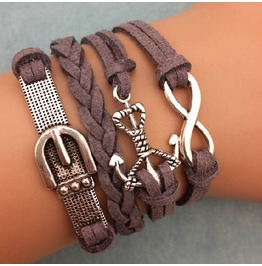 Fashion Handmade Jewelry Hand Woven Gray Anchor Infinity Cuff Bracelet
