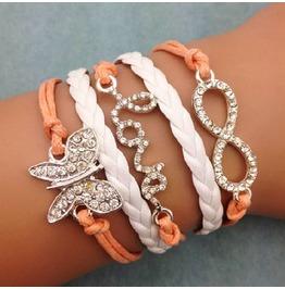Fashion Handmade Jewelry Hand Woven Butterfly Love Infinity Bracelet