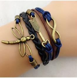 Fashion Handmade Jewelry Hand Woven Dragonfly Anchor Infinity Bracelet