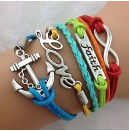Fashion Handmade Jewelry Hand Woven Infinity Faith Love Anchor Bracelet