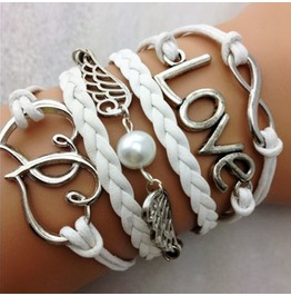 Fashion Handmade Jewelry Hand Woven Infinity Love Wing Heart Bracelet