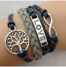 Fashion Handmade Jewelry Hand Woven Gray Infinity Love Tree Bracelet