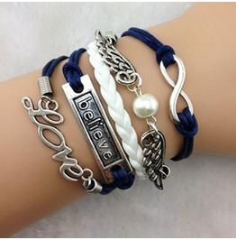 Fashion Handmade Jewelry Hand Woven Wing Pearl Love Infinity Bracelet
