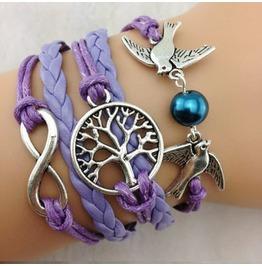 Fashion Handmade Jewelry Hand Woven Infinity Tree Bird Pearl Bracelet