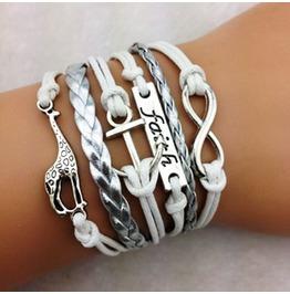 Fashion Handmade Jewelry Hand Woven Infinity Faith Deer Anchor Bracelet