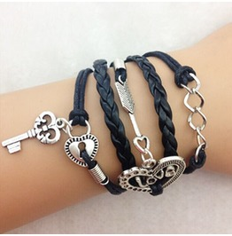 Fashion Handmade Jewelry Hand Woven Heart Love Key Bracelet