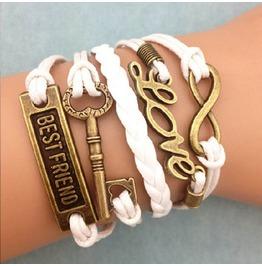 Fashion Handmade Jewelry Hand Woven Infinity Love Key Bestfriend Bracelet