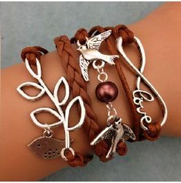 Fashion Handmade Jewelry Hand Woven Infinity Love Bird Leaf Bracelet