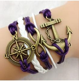 Fashion Handmade Jewelry Hand Woven Infinity Anchor Rudder Bracelet