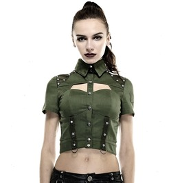 Gothic Goth Rock Steampunk Green Police Or Military Uniform Top Shirt