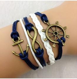 Fashion Handmade Jewelry Hand Woven Anchor Infinity Rudder Bracelet
