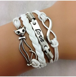 Fashion Handmade Jewelry Hand Woven Infinity Love Fox Bracelet