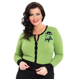 Voodoo Vixen Clarissa Gorgeous Mature Green Front Buttoned Cardigan Pl