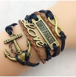 Fashion Handmade Jewelry Hand Woven Infinity Bestfriend Love Bracelet