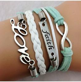 Fashion Handmade Jewelry Hand Woven Infinity Faith Love Bracelet