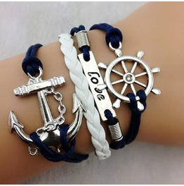 Fashion Handmade Jewelry Hand Woven Love Rudder Anchor Bracelet
