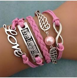 Fashion Handmade Jewelry Hand Woven Believe Wing Love Infinity Bracelet