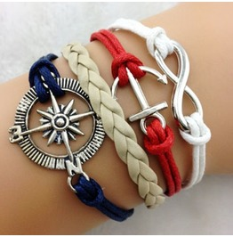 Fashion Handmade Jewelry Hand Woven Infinity Anchor Rudder Bracelet