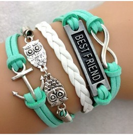 Fashion Handmade Jewelry Hand Woven Mint Infinity Owl Anchor Bracelet