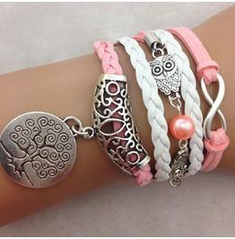Fashion Handmade Jewelry Hand Woven Infinity Owl Tree Bracelet