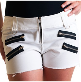 White Cotton Pants Black Zippers Punk Rock Shorts Glam Handmade