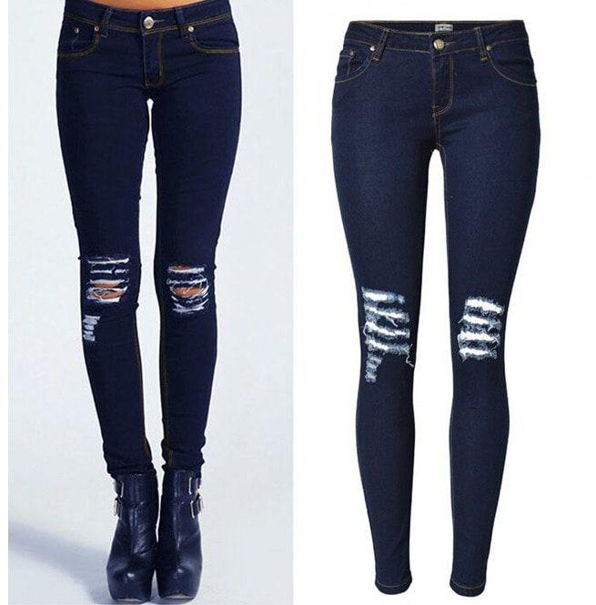 23fb95bbe54 Women's Knee Ripped Hole Skinny Jeans Pencil Jeans | RebelsMarket