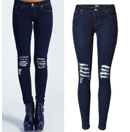 Women's Knee Ripped Hole Skinny Jeans Pencil Jeans Black