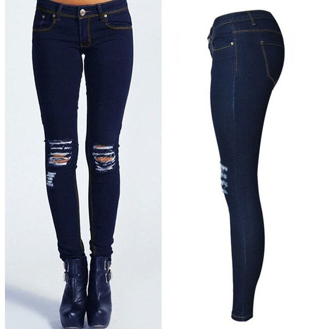 Women s Knee Ripped Hole Skinny Jeans Pencil Jeans  b28f122004