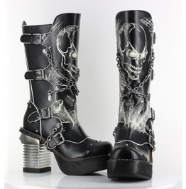 Black Spawn Calf High Skull Biker Goth Buckle Platform Punk Boots