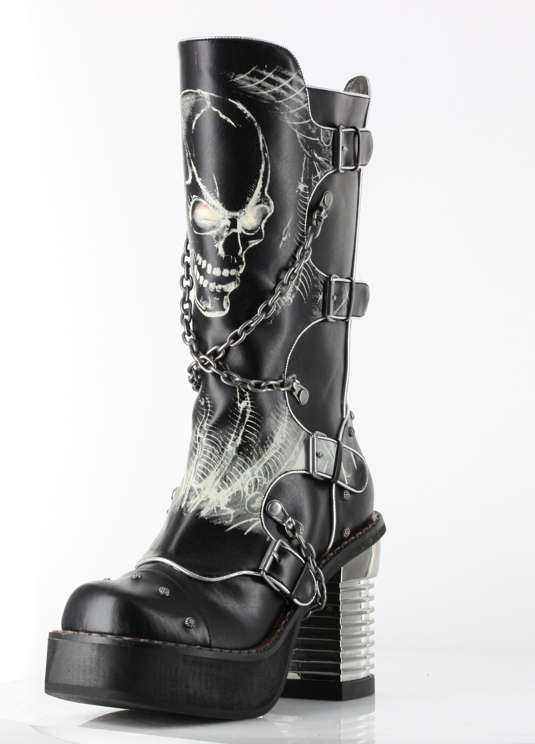 Skull biker goth platform goth boots 9 to ship boots 6 jpg 1464142690