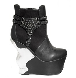 Black Stallion Studded Strap Goth Punk Wedge Heel Platform Wedge Ankle Boot