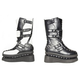 Storm Trooper White Black Glam Visual Kei Platform Space Boots $9 To Ship