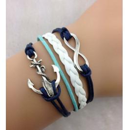 Handmade Anchor Leather Bracelet Infinity Vintage Bracelet