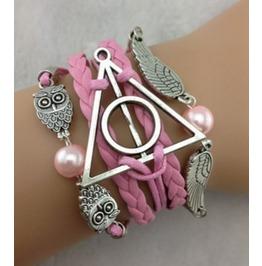 Handmade Pink Wax Cords Leather Owls Bracelet Infinity Vintage Bracelet