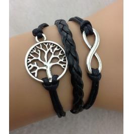 Handmade Wax Cords Leather Charm Tree Bracelet Infinity Vintage Bracelet