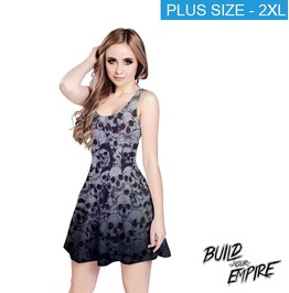 [ Plus Size 2 X L ] Pile Of Skulls Sleeveless Dress