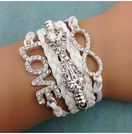 Fashion Handmade Jewelry Hand Woven Rhinestone Love Infinity Bracelet