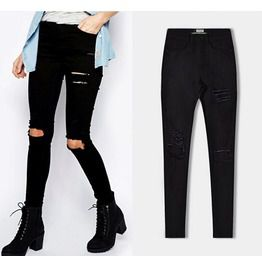 Women's Knee Ripped Hole Skinny Jeans