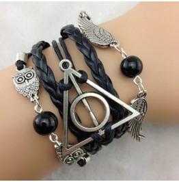 Handmade Black Wax Cords Charm Bracelet Infinity Vintage Owls Bracelet